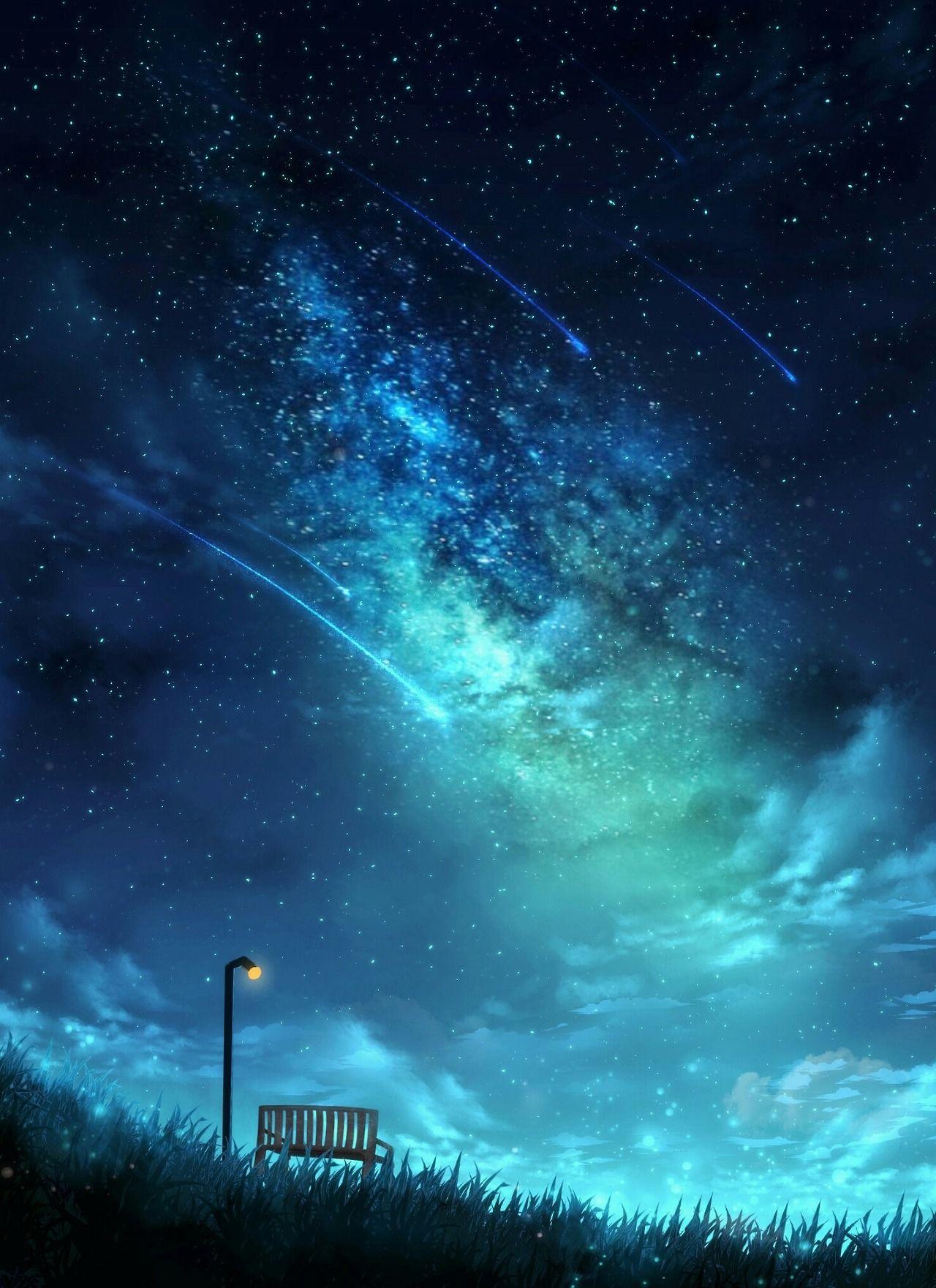 Bench under the starry sky Latar belakang, Langit malam