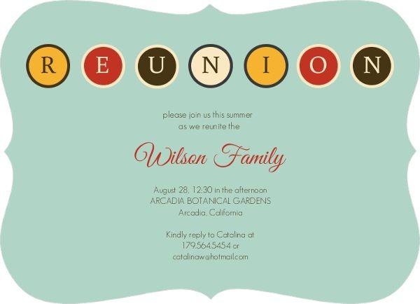 Family Reunion Invitations Retro Blue Family Reunion Invitation