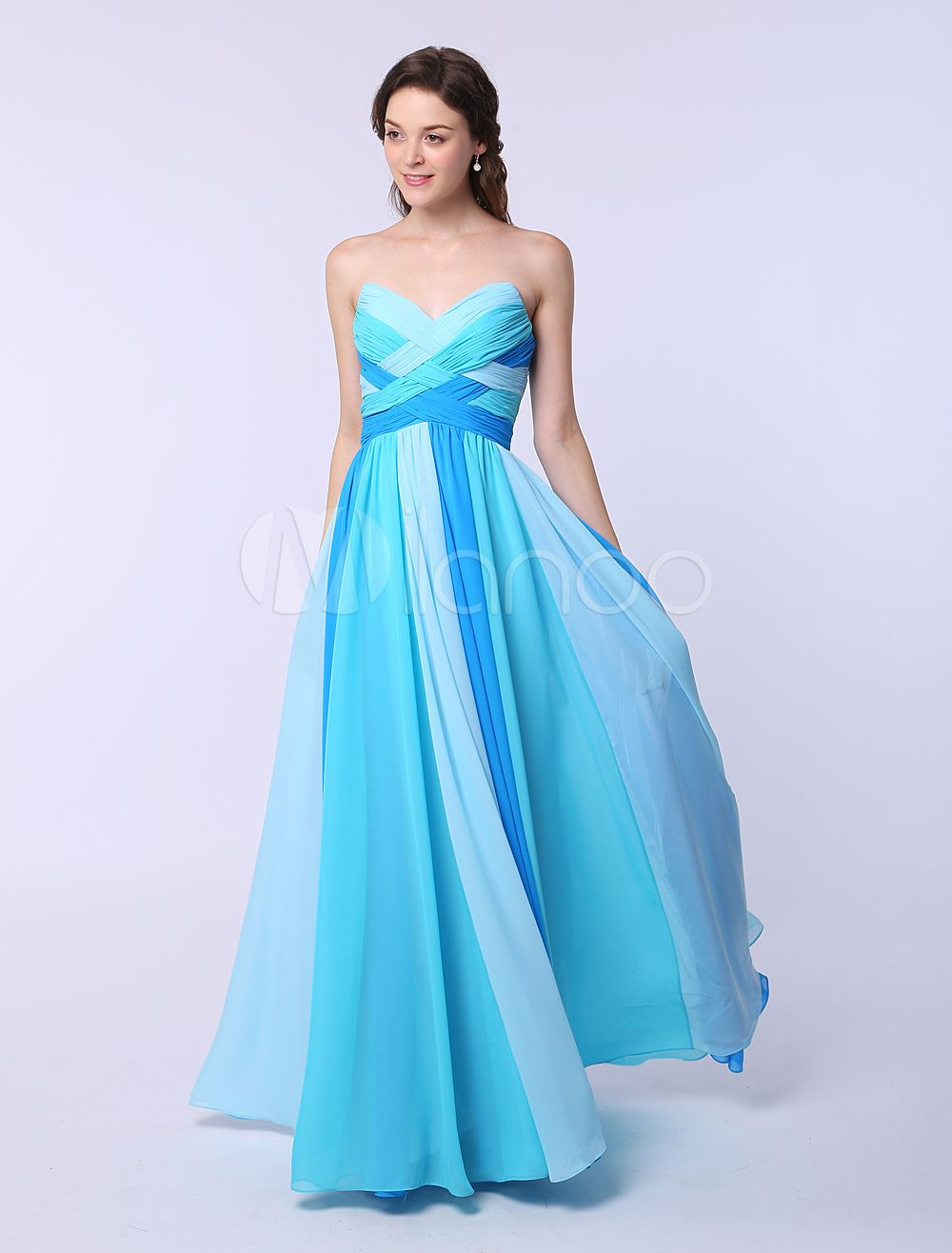 Multicolor A-line Chiffon Prom Dress with Sweetheart Neck Criss ...
