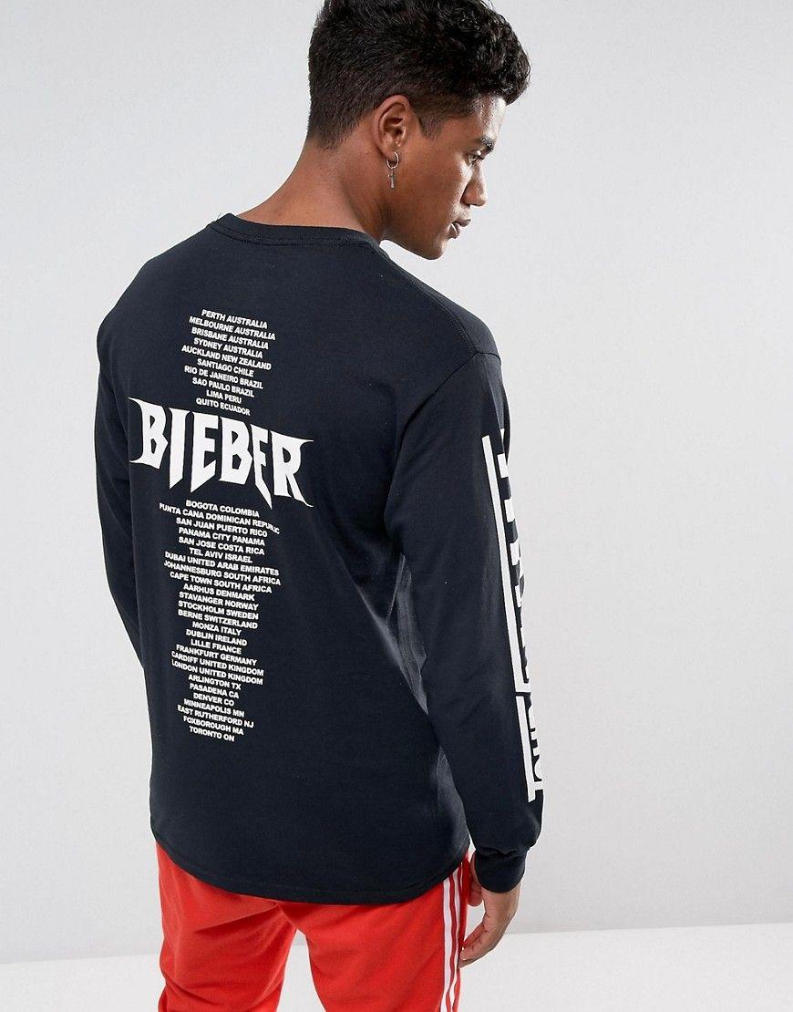 e16fe9cc Justin Bieber Stadium Tour Long Sleeve T-Shirt In Black | Bieber ...