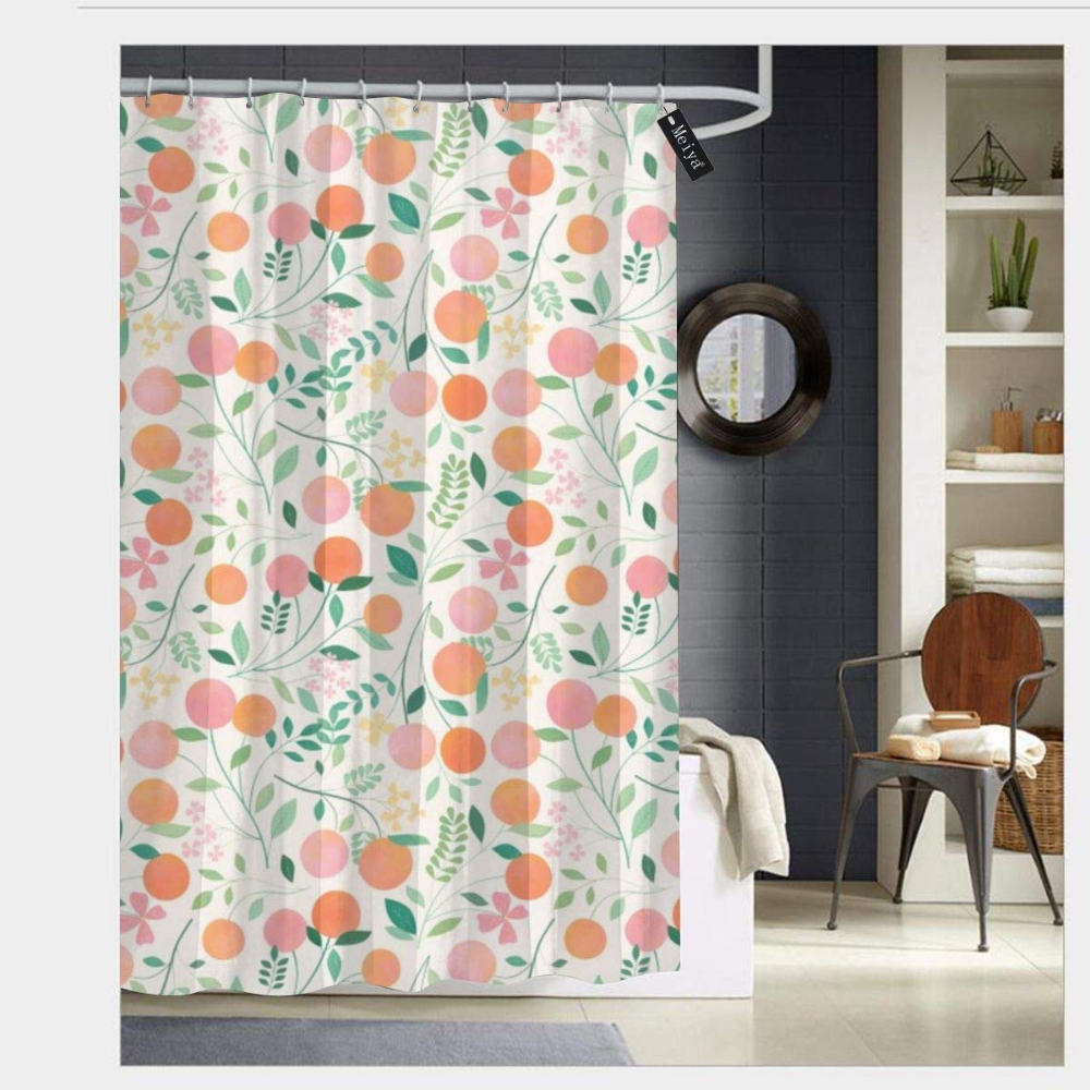 Sotyi Ltd Vanilla Peaches Shower Curtains With 12 Hooks Durable