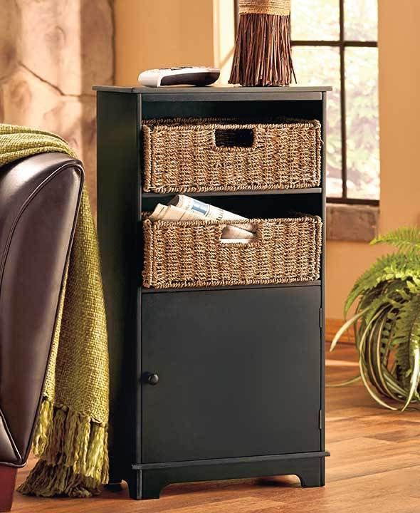 Black Storage Cabinet With Shelves U0026 2 Seagrass Baskets Wood Decorative  Cabinet #Unbranded
