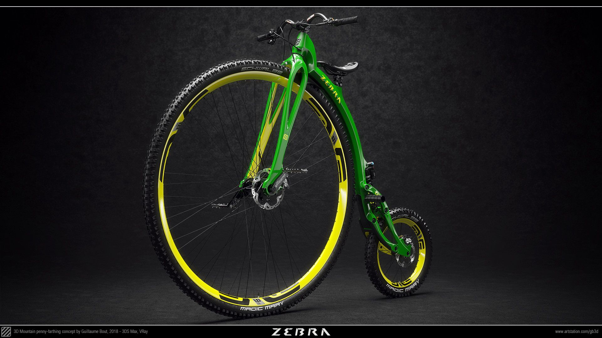 Artstation Zebra Otb 21st Century Mountain Penny Farthing Guillaume Bout Penny Farthing Vintage Bicycles 21st Century