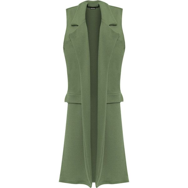 Beaulah Long Open Waistcoat (€27) ❤ liked on Polyvore featuring plus size women's fashion, plus size clothing, plus size outerwear, plus size vests, green, waistcoat vest, long sleeveless waistcoat, sleeveless vest, long vest and green vest