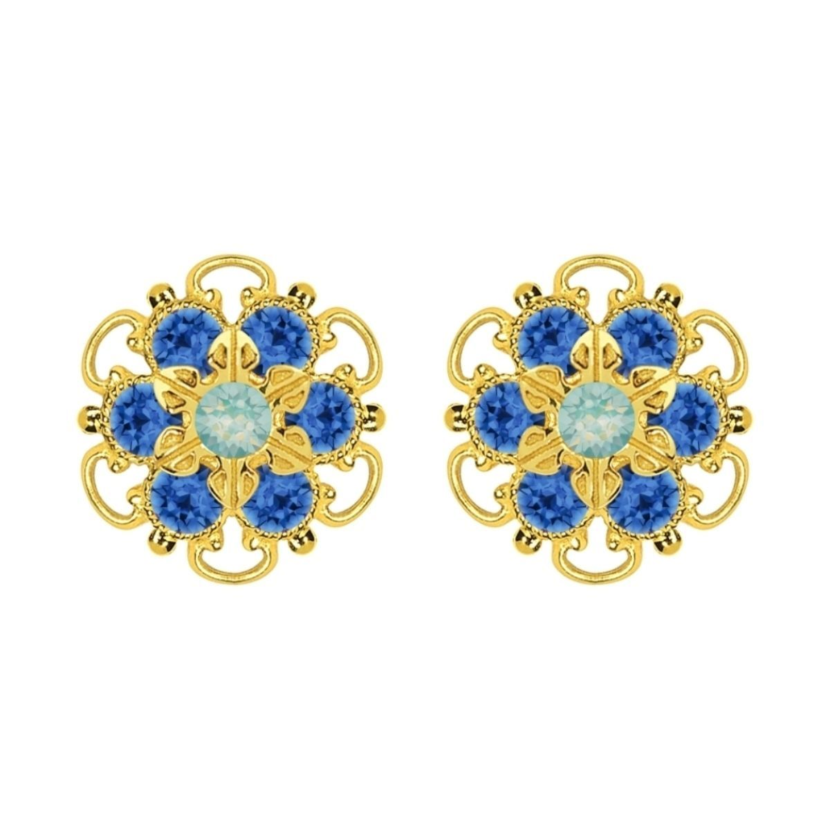 Lucia Costin Gold Over Sterling Silver Mint Blue/ Blue Earrings
