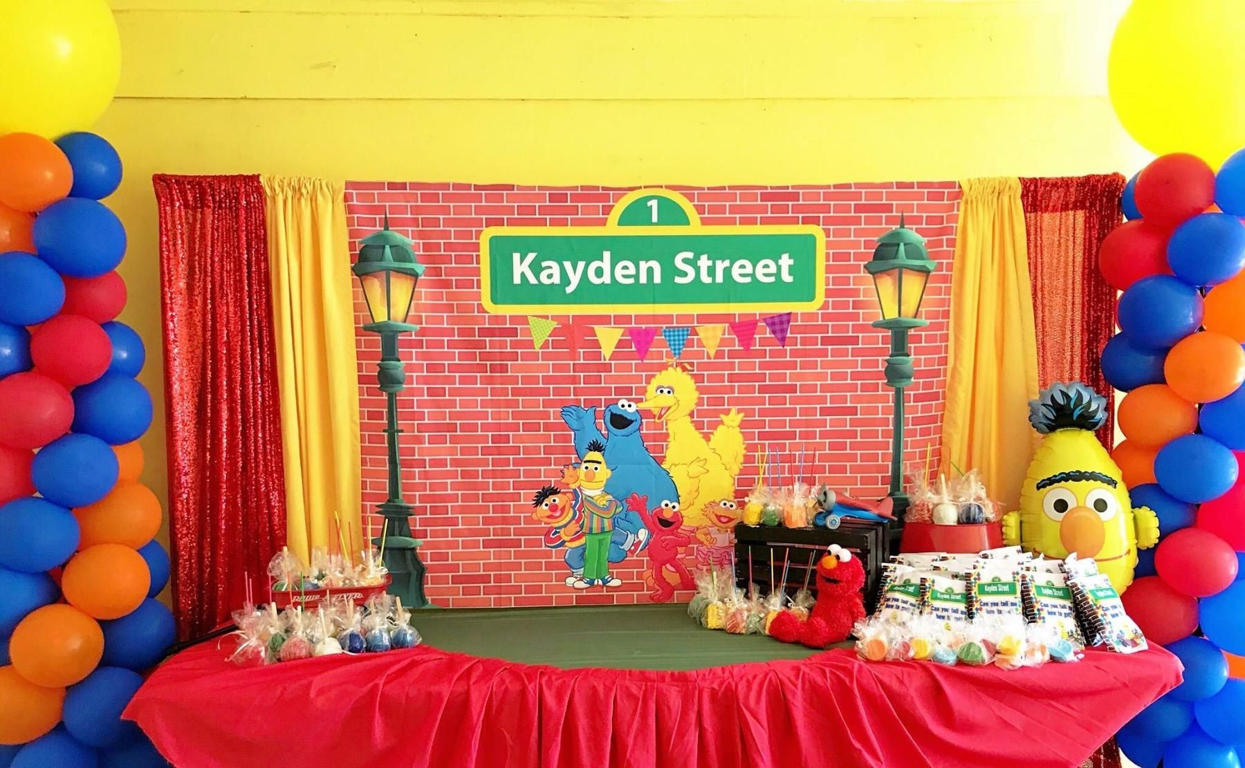 Allenjoy 7x5ft Customizable Sesame Street Theme Brick Wall Street Backdrop High Birthday Party Background Sesame Street Birthday Party Baby Shower Decorations