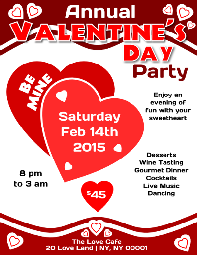 Valentines Day Party Flyer Template Flyertutor Com Download A Free