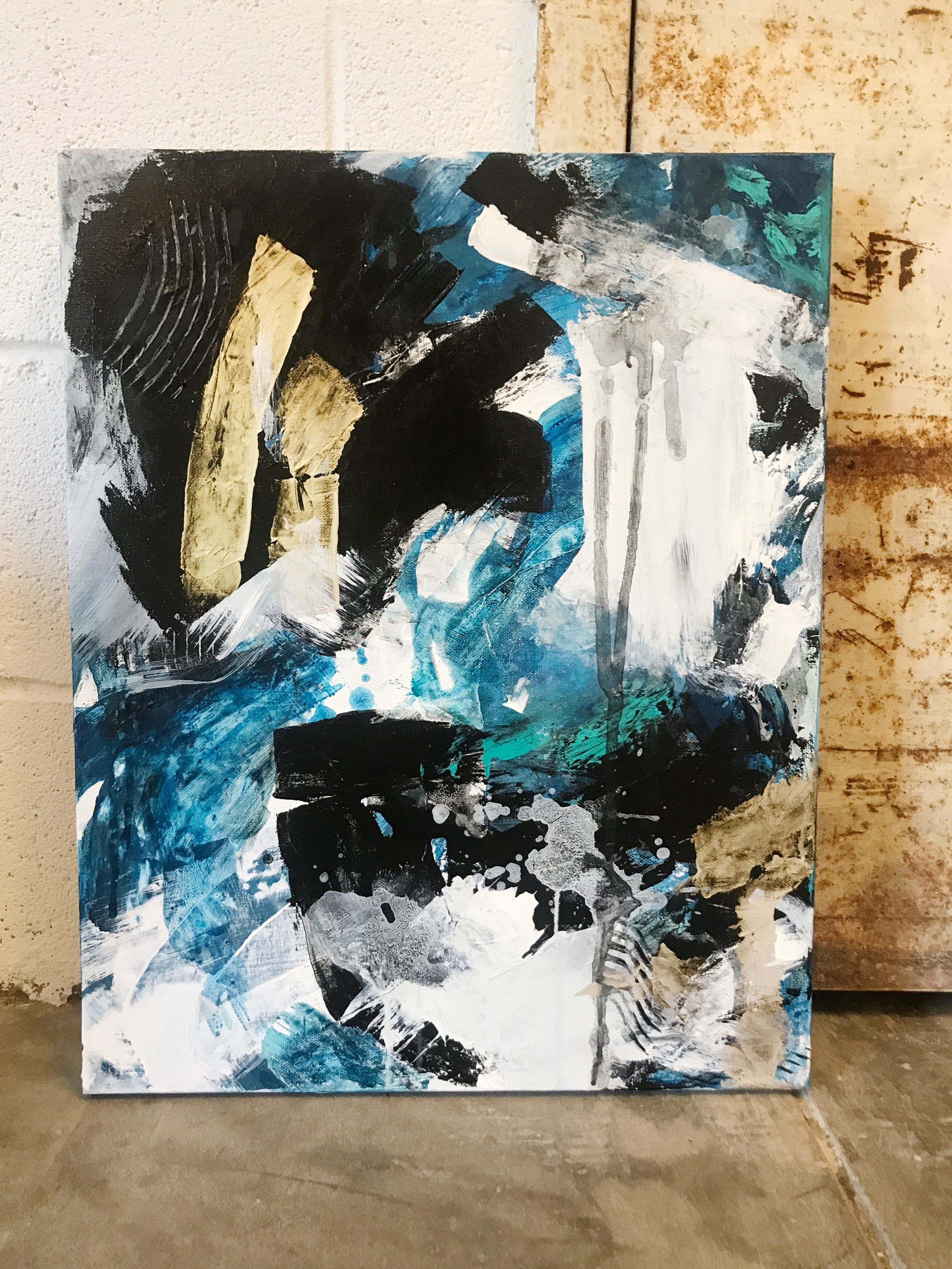 Contemporary Blue Black White And Gold Painting Large Accent Paintings For Interior Design Gold Abstract Painting Painting Art