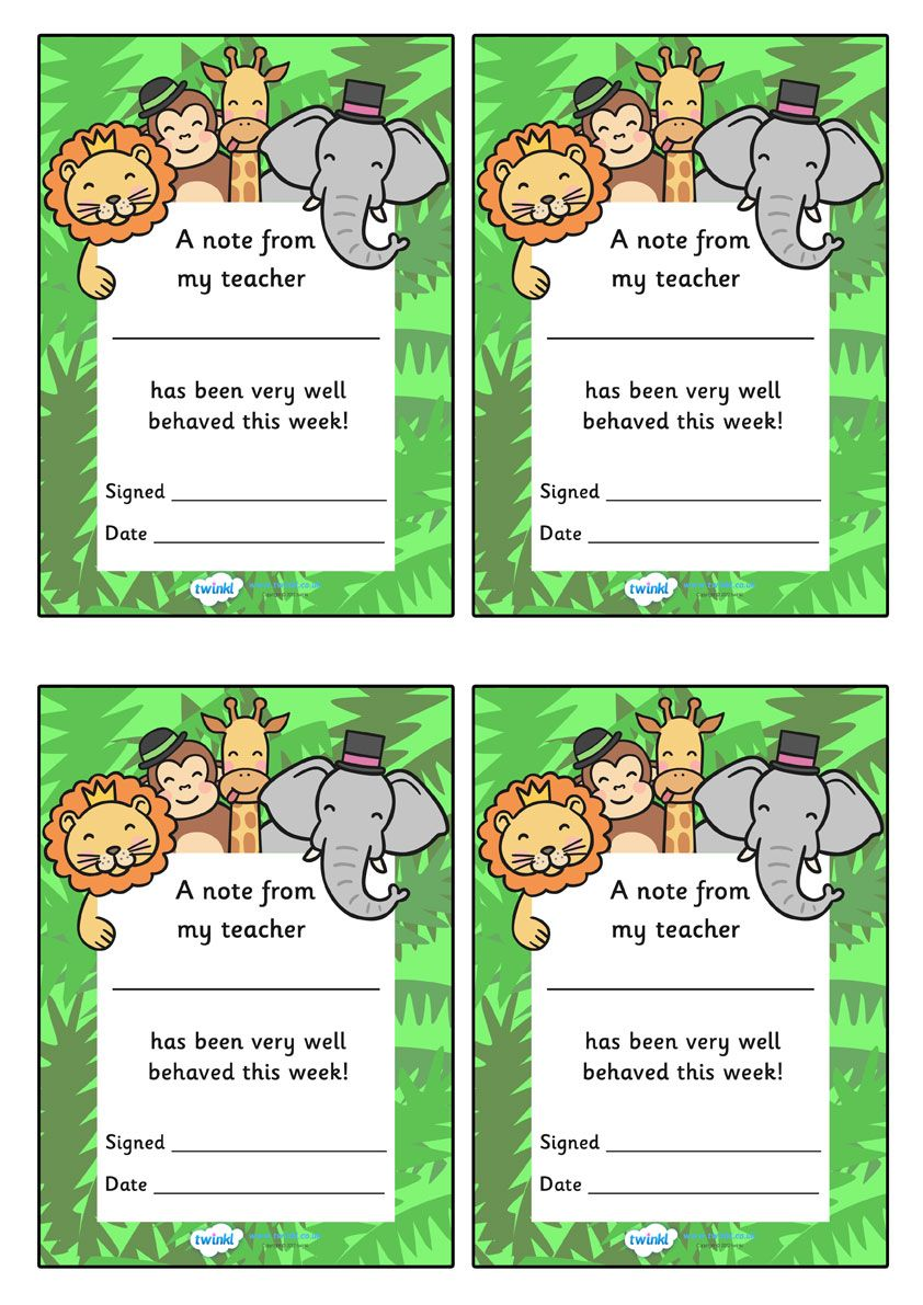 Twinkl Resources >> Note From Teacher Well Behaved This Week (Jungle Themed) >> Classroom printables for Pre-School, Kindergarten, Primary School and beyond! note from teacher, well behaved this week, note from teacher, note, praise, teacher, parents