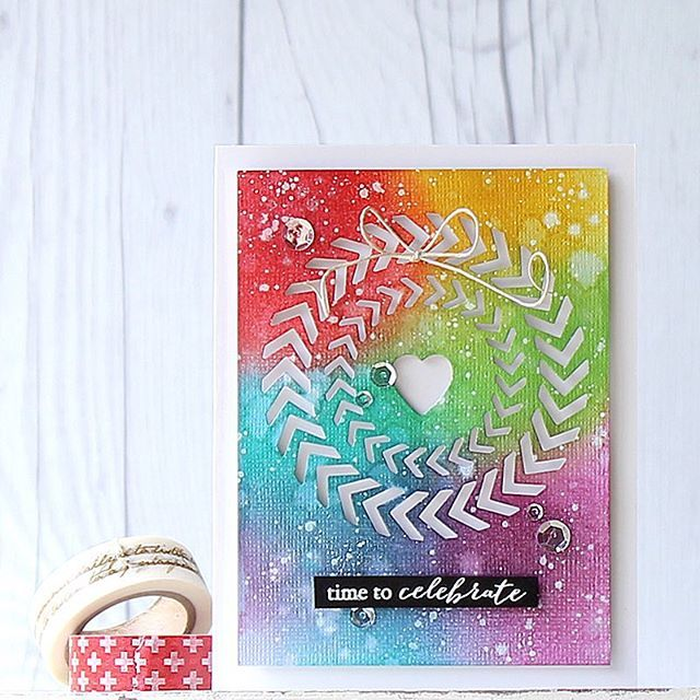 My card with the new Poppystamps Spinning Circles die. This die is so unique and versatile!! #poppystamps #rainbow #color #inking #blending #papercrafts #cardmaking #stamping #prettypinkposh #sequins #celebrate #핸드메이드 #카드 #잉크블랜딩 #다이 #카드메이킹 #무지개 #레인보우 #칼라