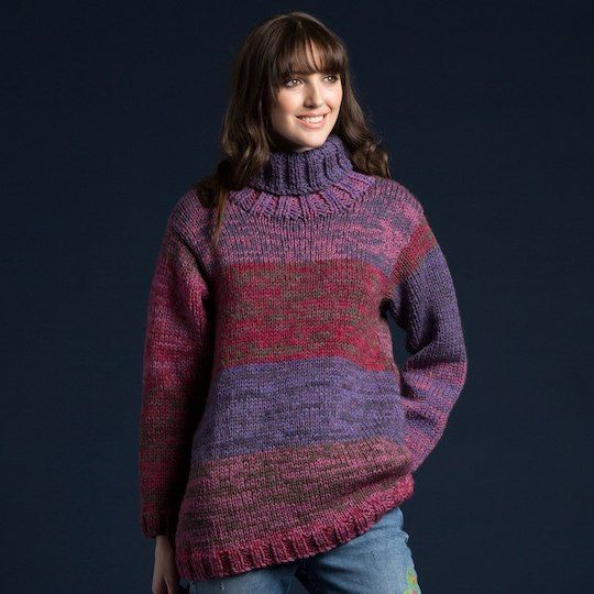 Caron® Cakes™ On The Double Knit Pullover in Blackberry Mousse