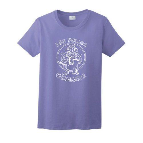 Los Pollos Hermanos Chickn Brothers Chicken Bros LADIES Short Sleeve T-Shirt Breaking Bad AMC TV Show LADIES Tee XL Violet