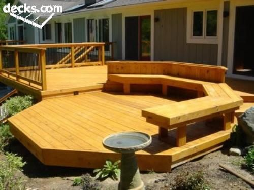 Deck Def Want A Step Down Area Minus The Bench And I M Not Feeling The Shape Either Back Deck Designs Deck Seating Platform Deck
