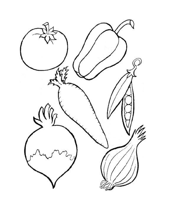 six kinds of perfect vegetables coloring page for kids