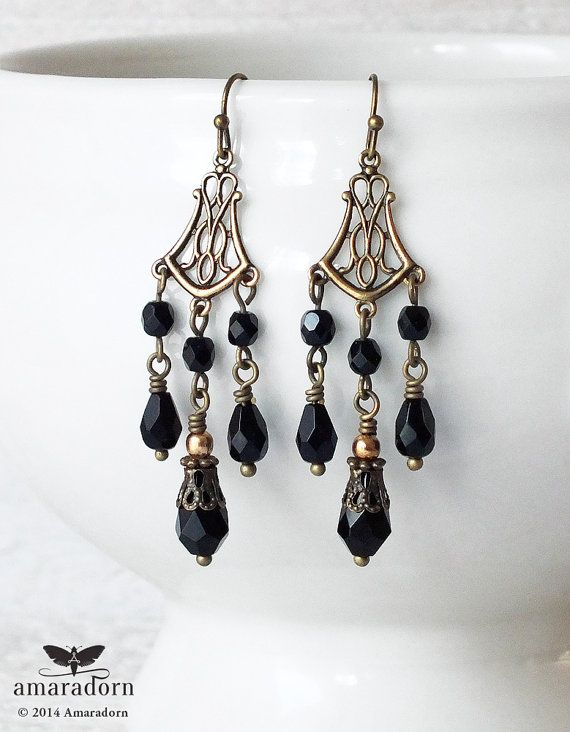 Elegant Edwardian inspired chandalier earrings featuring delicate antiqued brass connectors in an Art Nouveau style. I have combined these with wire