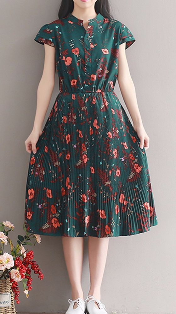 a1df16231b6 Women loose fitting over plus size retro flower chiffon dress long floral  tunic  Unbranded  dress  Casual