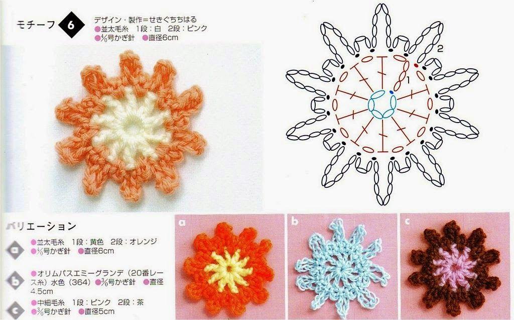 Flores japonesas al crochet | Crochet y Dos agujas | irlandes ...