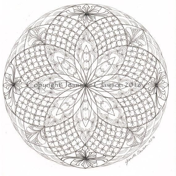 Zentangled Torus Mandala Advanced Coloring Page Etsy Coloring Pages Mandala Mandala Coloring Books