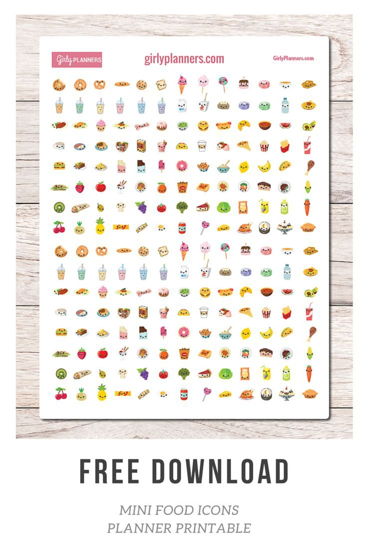 Free Printable Planner Stickers: Mini Food Icons - I use these in ... for Planner Stickers Template  584dqh