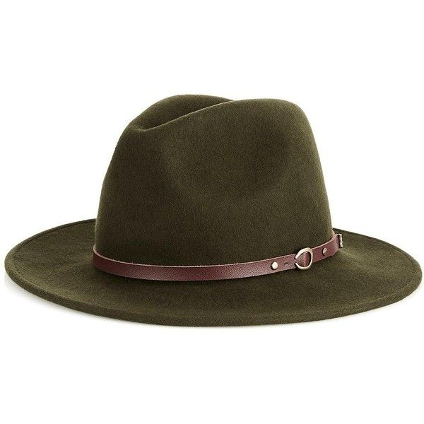 cd1dc8ef1b1fb2 Christys' Crushable Wool Felt Safari Hat With Leather Belt ($79) ❤ liked on  Polyvore featuring accessories, hats, olive, holiday hats, felt hat, ...