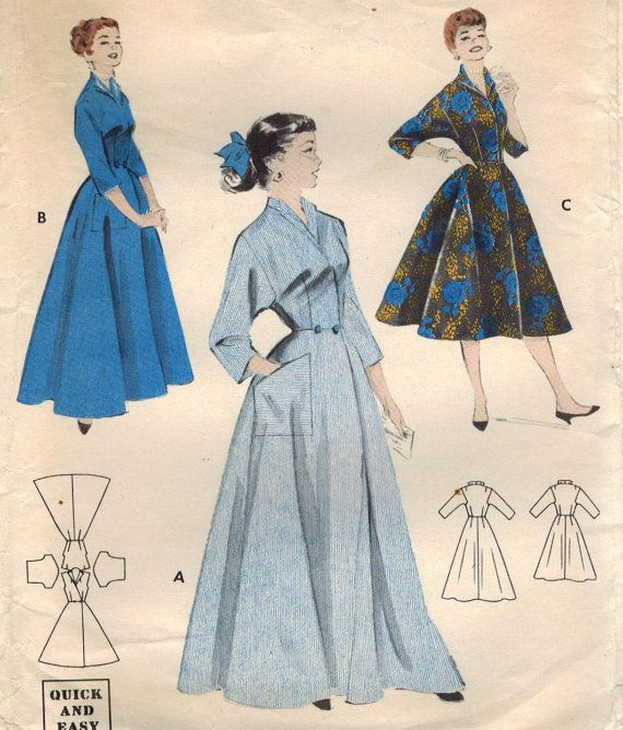 1950s Butterick 7461 Vintage Sewing Pattern Misses Robe, Housedress ...