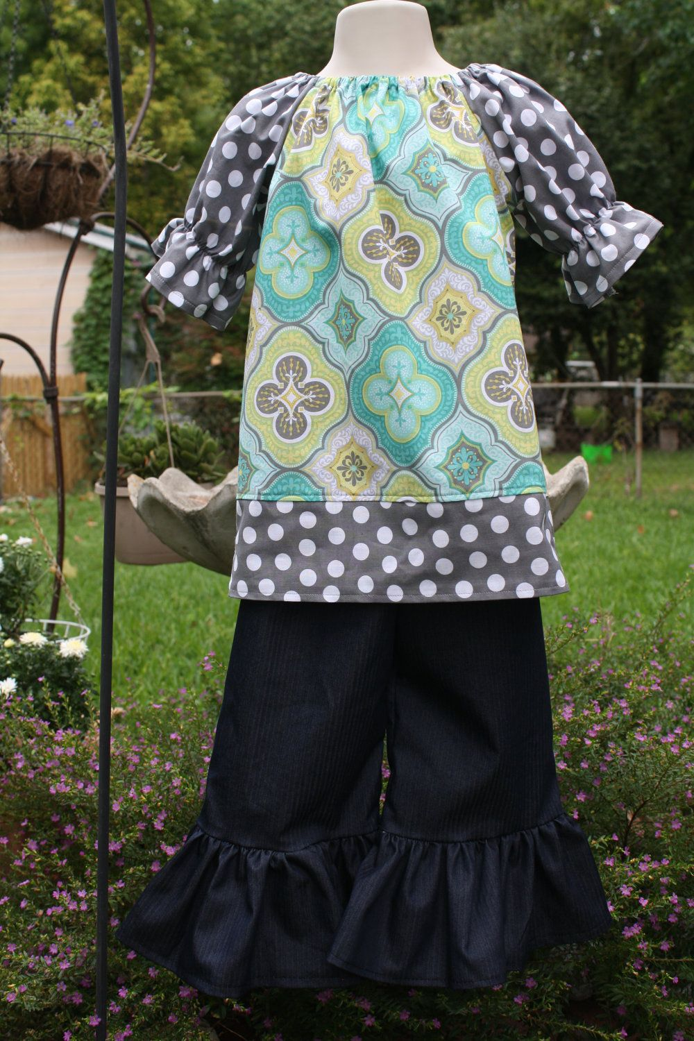 Green yellow and blue peasant dress with grey polka dot sleeves