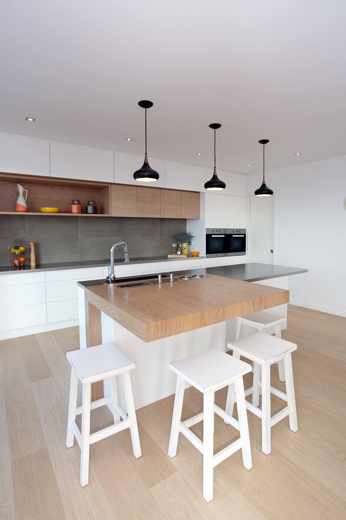 Breakfast Bar with Wood Finish Kitchen Design Ideas