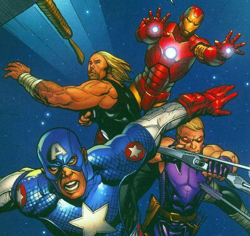 Thor, Captain America, Hawkeye and Iron Man