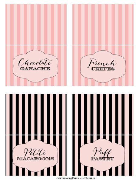printable tent cards instant download buffet labels parisian