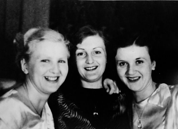 The Braun sisters in 1935: Eva, Ilse and Gretl. This image was included in pages of Eva Braun's photo albums and cataloged as such when I viewed and photographed it in the National Archives.