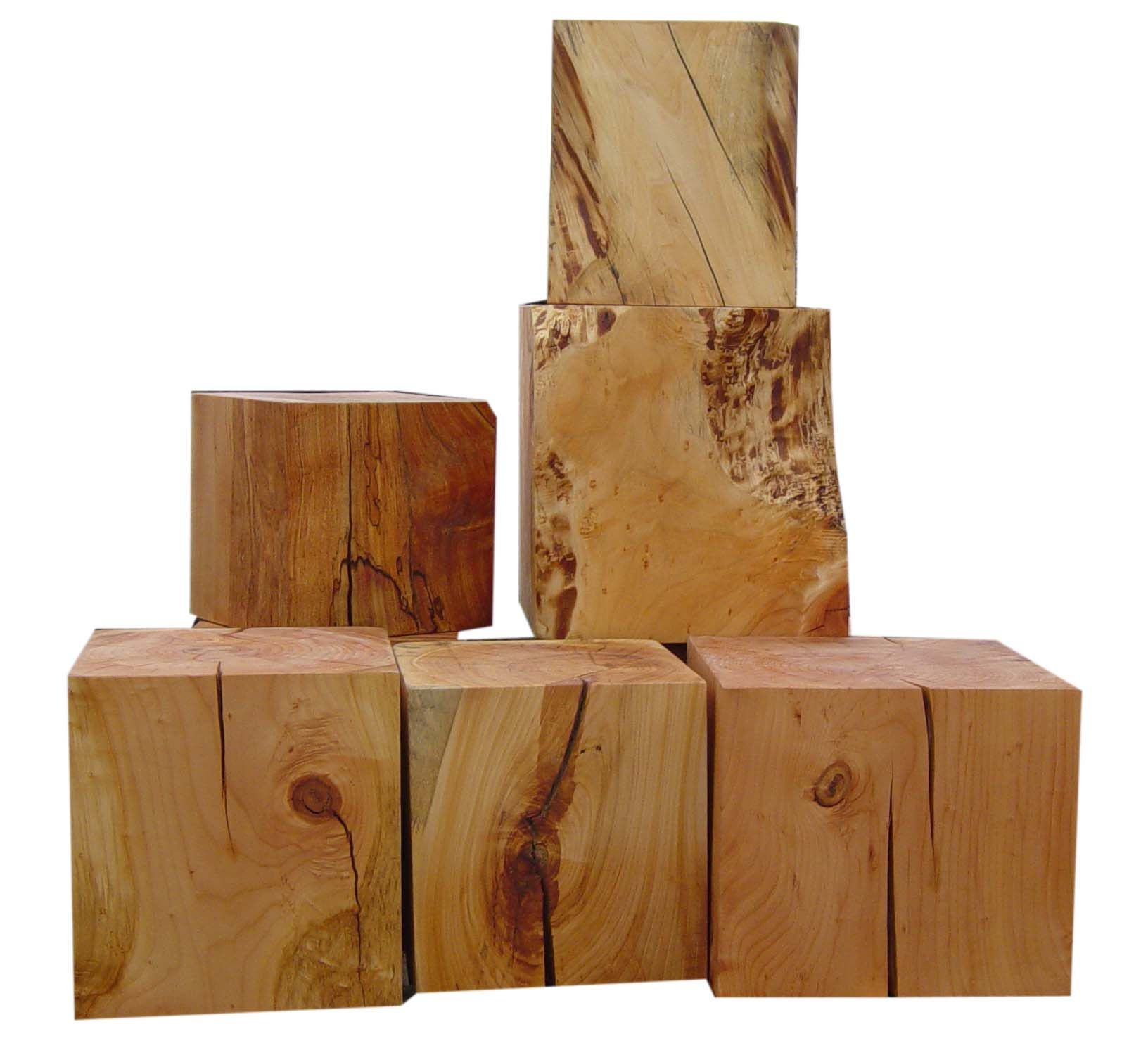 URBAN TREE SALVAGE Solid Wood Cube Tables Made From Felled
