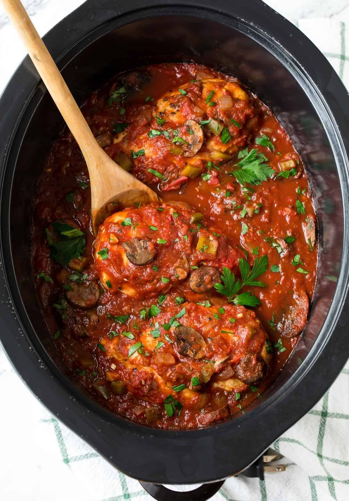 Healthy Slow Cooker Chicken Cacciatore Authentic Italian