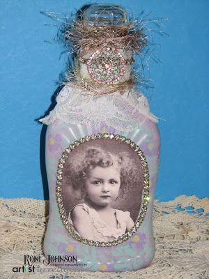 Ink Stains: Frosted Altered Art Bottle