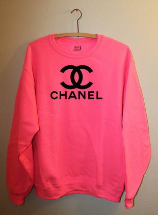 Neon Pink Chanel sweatshirt - could DIY this with any sweatshirt using a print-out decal of the Chanel logo