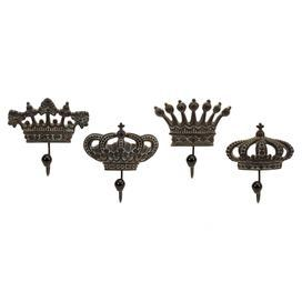 Four crown wall hooks.