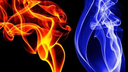 Blue Red Smoke Wallpaper Ecran De Fumee L Art De La Fumee Feu Et Glace
