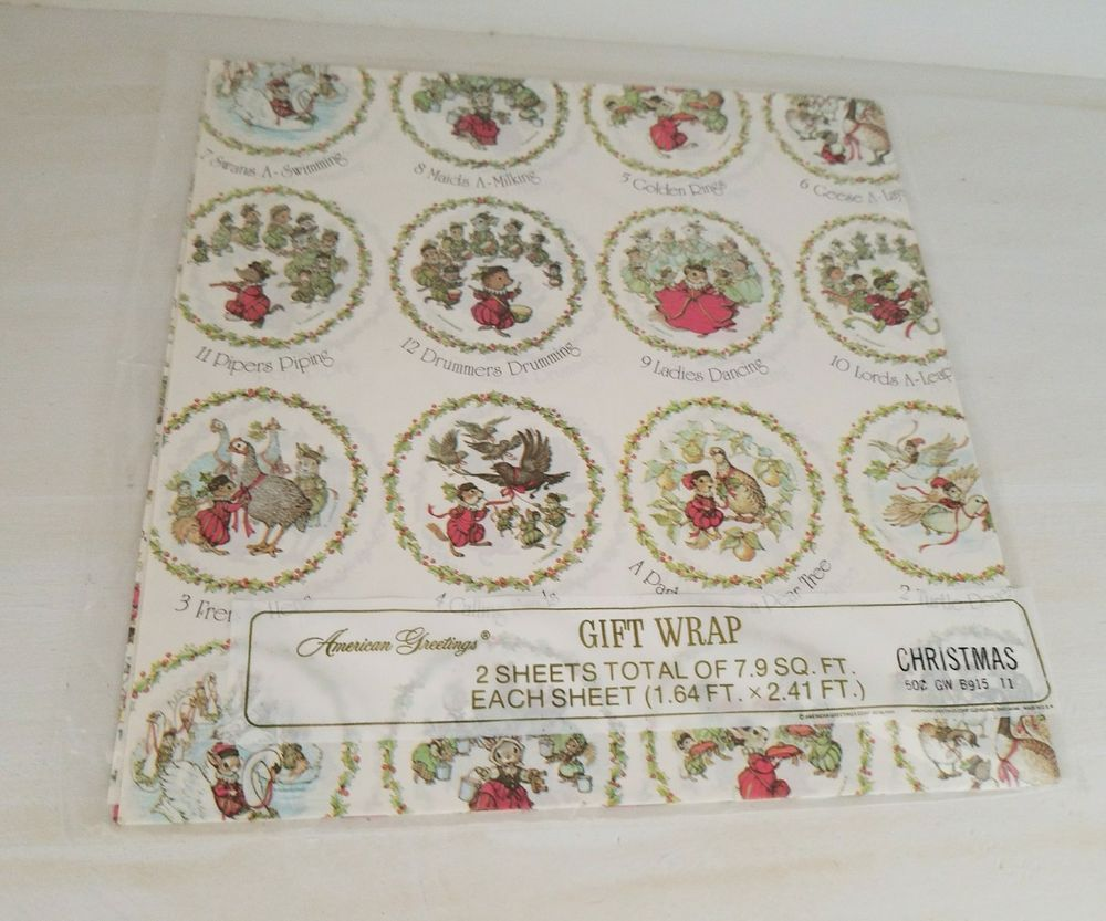 Vintage 12 Days Of Christmas Wrapping Paper Gift Wrap Sheets