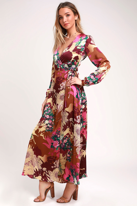 fcfa19789283 Lulus | Put on a Smile Burgundy Floral Print Satin Wrap Maxi Dress | Size  X-Small | 100% Polyester