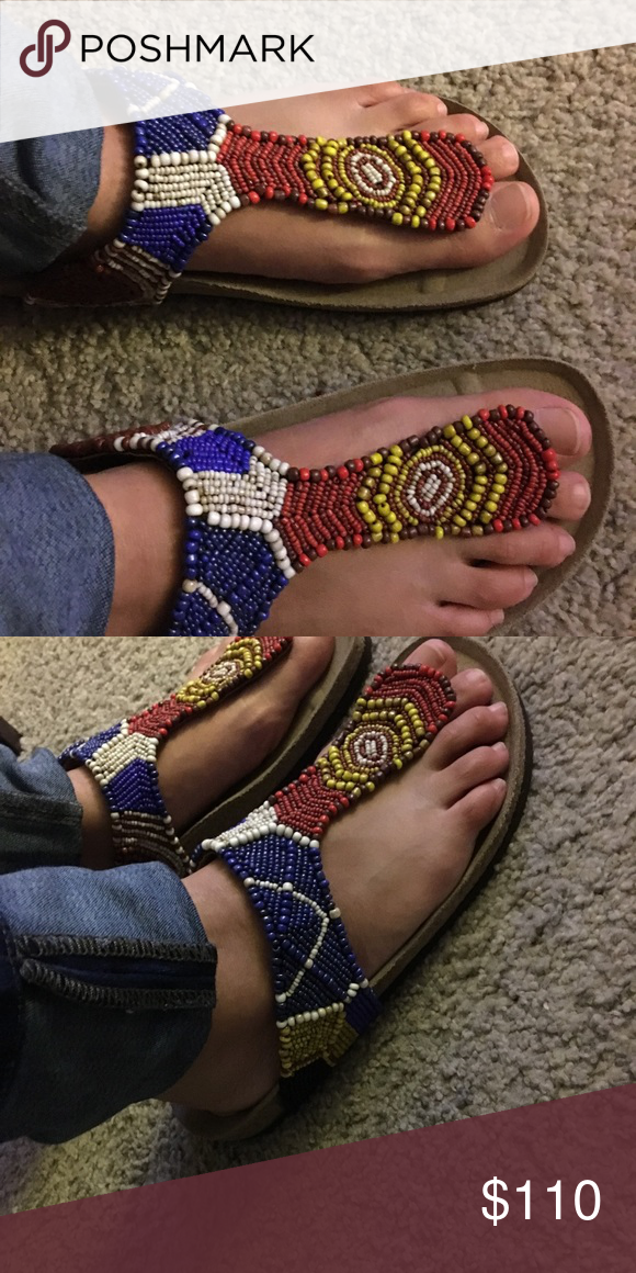 7a050700d8277 Maliparmi Beaded Tong Colorful Sandals