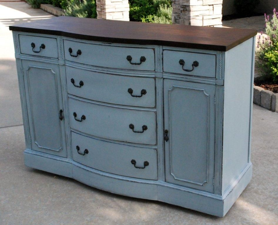 I Kind Of Like This Blue Gray Distressed Style For Furniture Waterhouse Market Painted Gray Buffe Sideboard Furniture Painted Furniture Colors Painted Buffet
