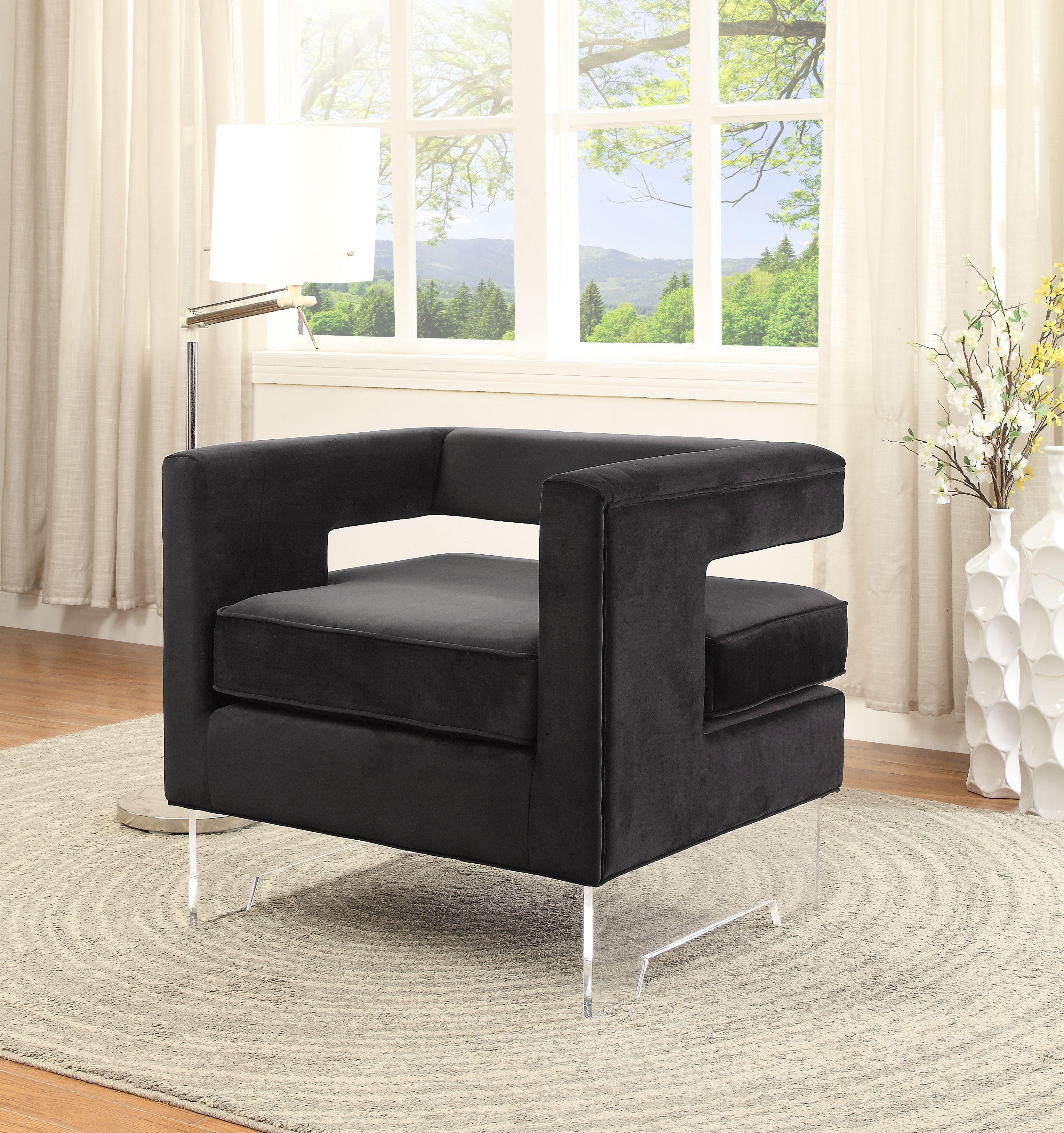 Best Carson Black Velvet Accent Chair Usa Furniture Furniture 400 x 300