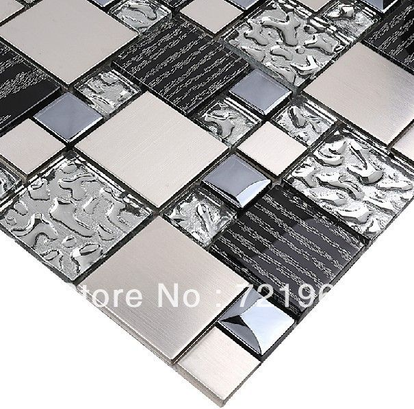 Stainless Steel Pattern Gray Glass Mosaic Tile: Silver Metal Mosaic Stainless Steel Tile Kitchen