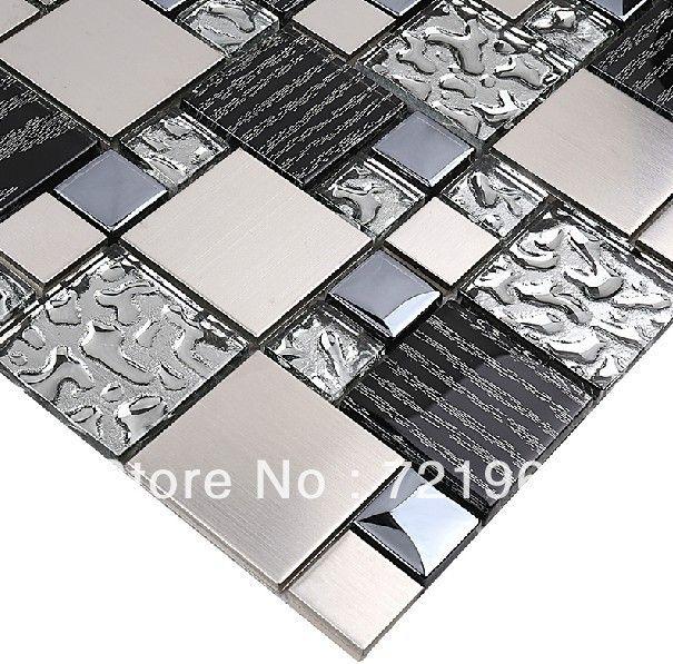 Silver Metal Mosaic Stainless Steel Tile Kitchen Backsplash