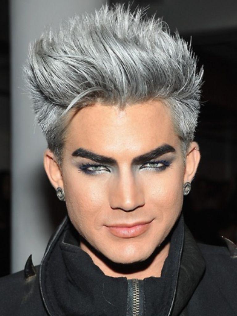 Adam Lambert Rockin The Silver Silver Hair Mens Hairstyles