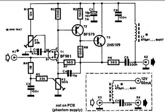 Wideband active antenna amplifier circuit A 30 to 50 cm whip antenna