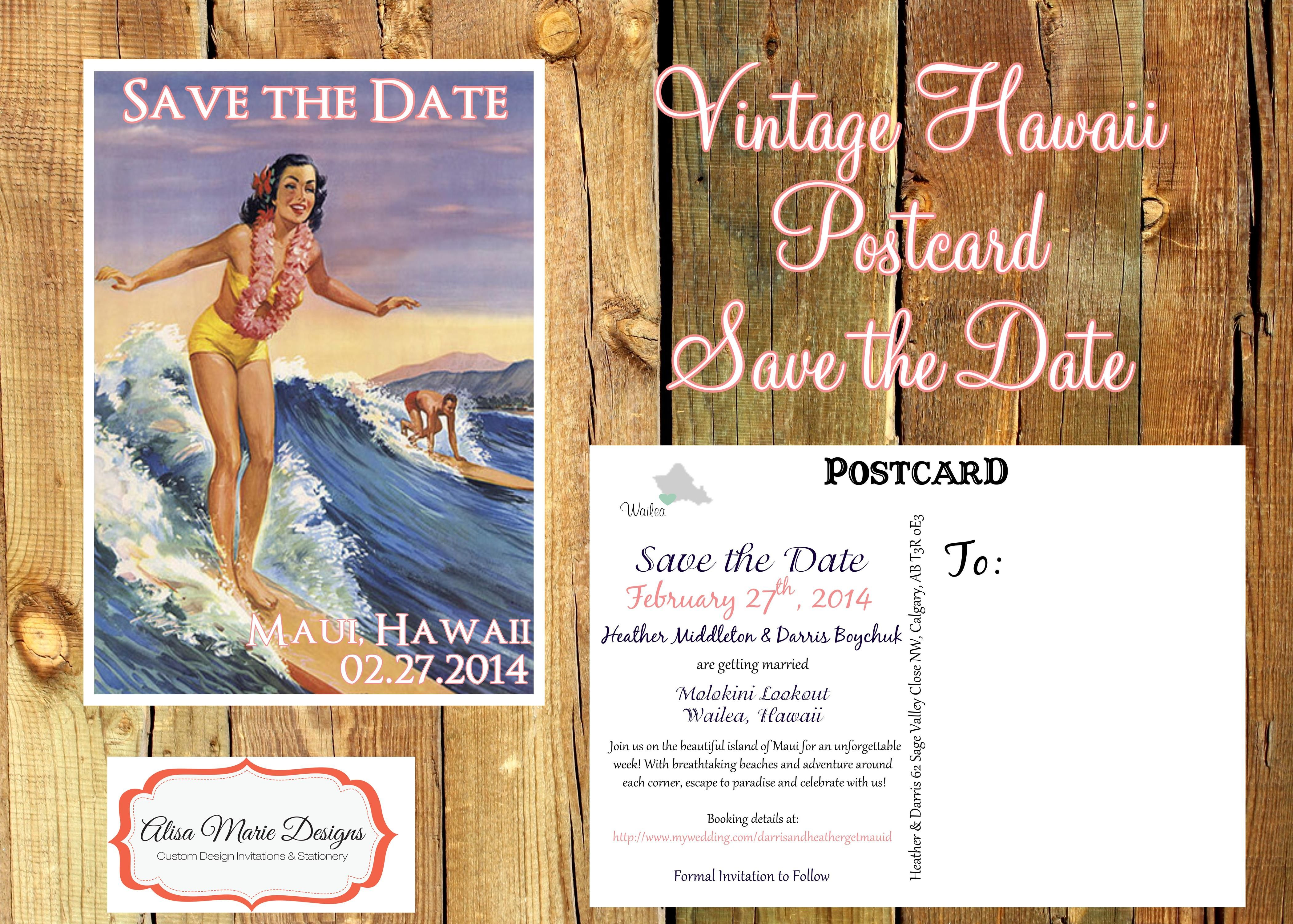 Vintage Hawaii Save The Dates By Alisa
