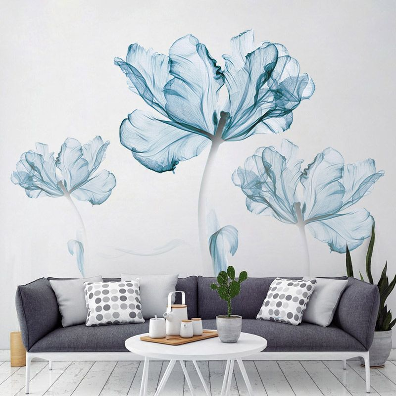 1286 free shipping simple design blue flower pattern