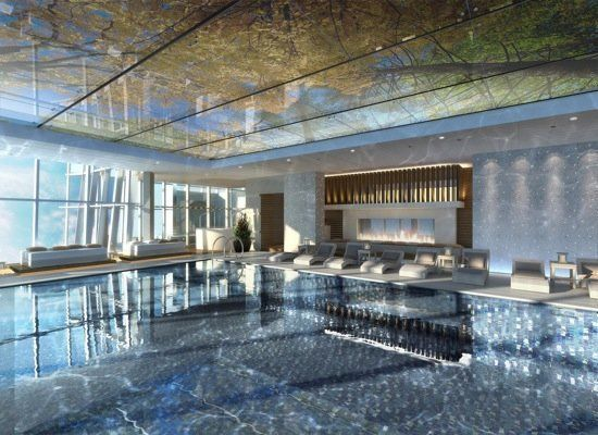 Burj khalifa swimming pools the ritz carlton hong kong pool will be located on the top floor for Burj khalifa swimming pool 76th floor