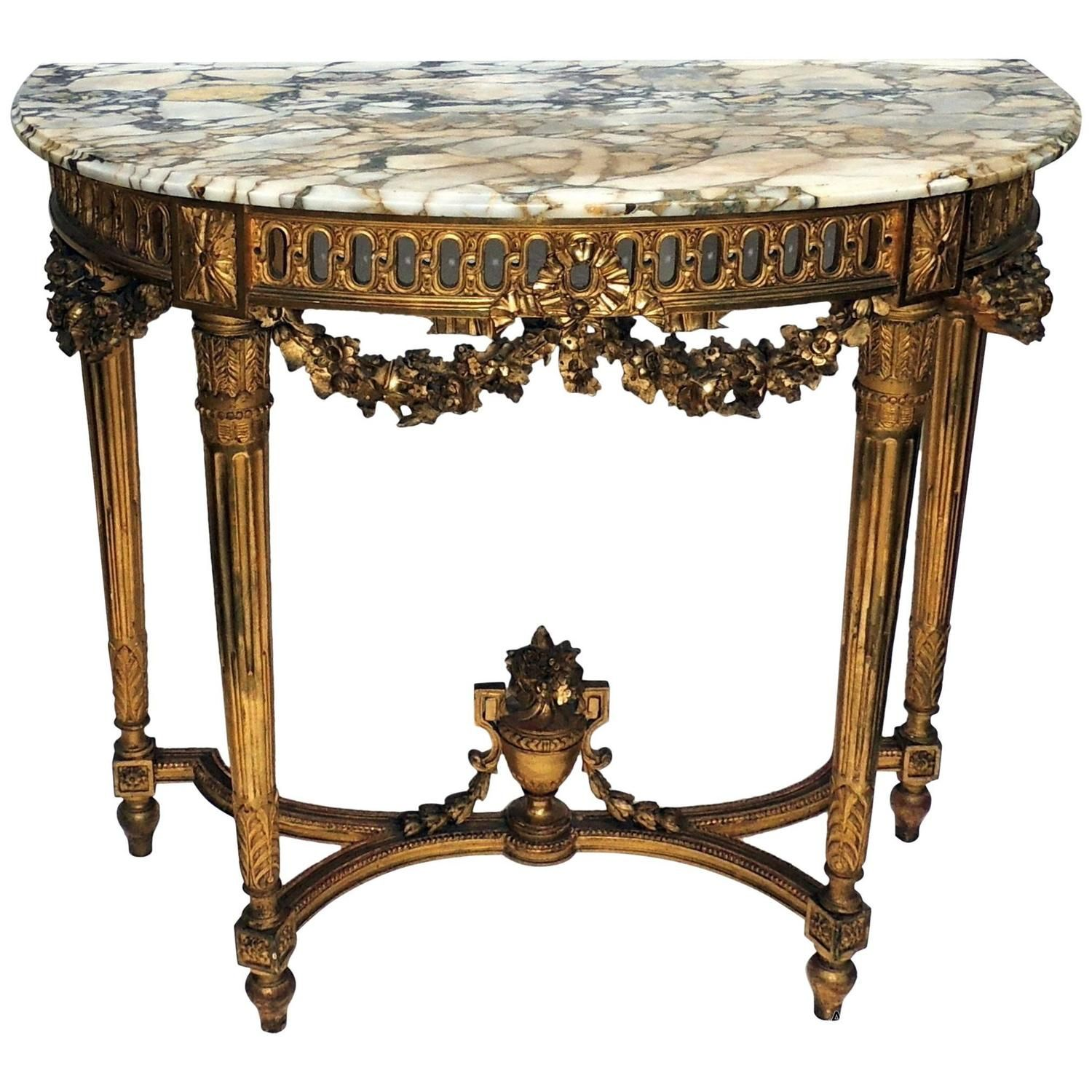 Charming GOLD Marble Top CONSOLE TABLE White Marble CHERUB MIRROR   Google Search