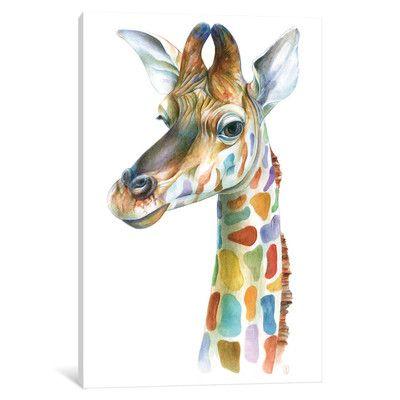 East Urban Home Colorful Giraffe Canvas Art Giraffe Art Animal Art Art